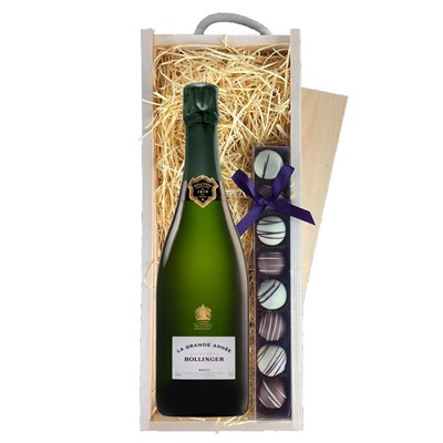 Bollinger Grande Annee, 2007 Vintage Champagne & Champagne Truffles, Wooden Box
