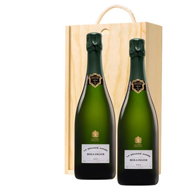 Bollinger Grande Annee, 2007 Vintage Champagne Twin Pine Wooden Gift Box (2x75cl)