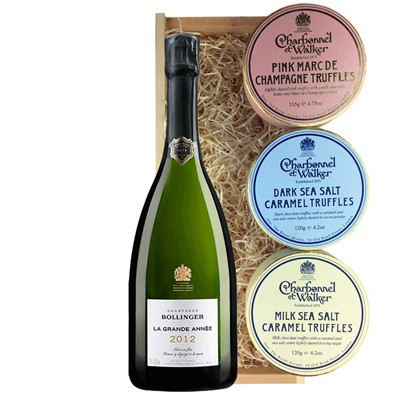 Bollinger Grande Annee, 2012 Vintage Champagne And Charbonnel Trio of Truffles Gift Box