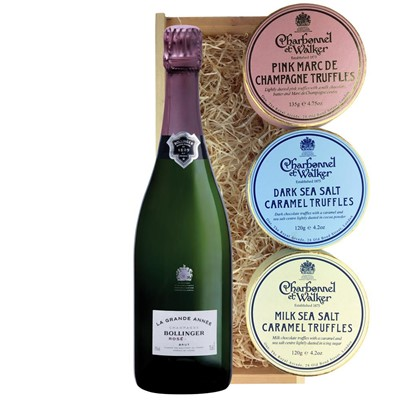 Bollinger Grande Annee, Rose, 2007 Vintage Champagne And Charbonnel Trio of Truffles Gift Box