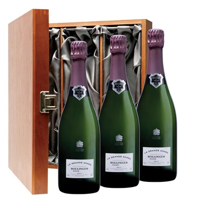 Bollinger Grande Annee, Rose, 2007 Vintage Champagne Three Bottle Luxury Gift Box