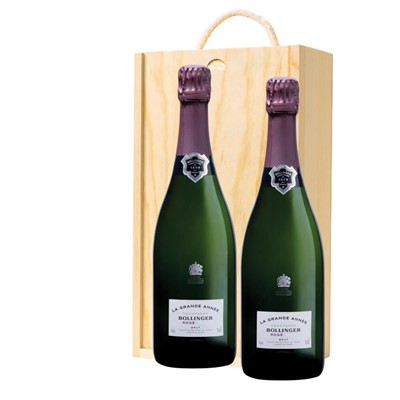 Bollinger Grande Annee, Rose, 2007 Vintage Champagne Twin Pine Wooden Gift Box (2x75cl)