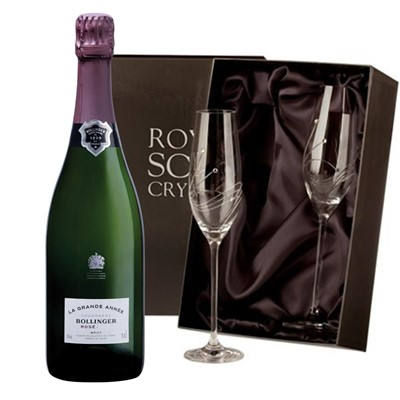 Bollinger Grande Annee, Rose, 2007 Vintage Champagne with 2 Royal Scot Edinburgh Flutes