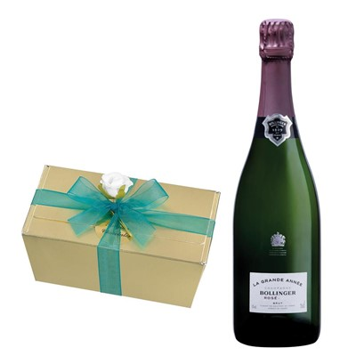 Bollinger Grande Annee, Rose, 2007 Vintage Champagne With Selection Of Milk, White And Dark Belgian Chocolates 460g