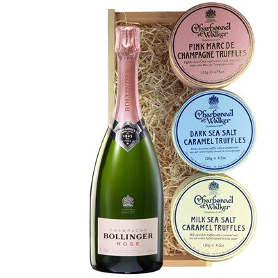 Bollinger Rose Champagne 75cl And Charbonnel Trio of Truffles Gift Box