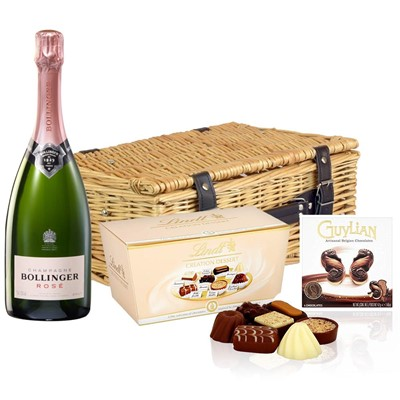 Bollinger Rose Champagne 75cl And Chocolates Hamper