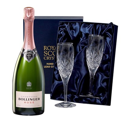 Bollinger Rose Champagne 75cl with 2 Royal Scot Edinburgh Flutes