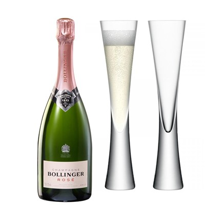 Bollinger Rose Champagne 75cl with LSA Flutes