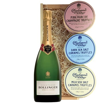 Bollinger Special Cuvee, Champagne 75cl And Charbonnel Trio of Truffles Gift Box