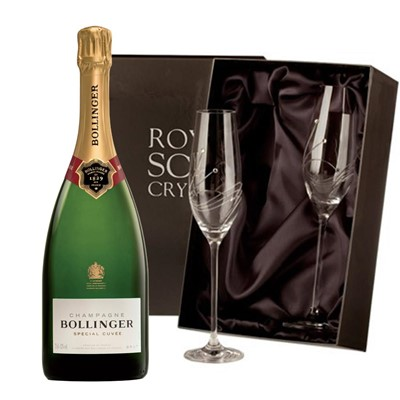 Bollinger Special Cuvee, Champagne 75cl with 2 Royal Scot Edinburgh Flutes
