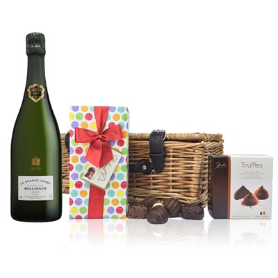 A delightful gift of Bollinger Grande Annee 2007 Brut along with a box of Mini Duc d'O Belgin Chocolates (50g) and Belgid'Or Fine Belgin Choclates (175g) all packed in a wicker hamper with leather straps, lined with wood wool. Price includes free UK Mainland Delivery, and Exports and international delivery available.