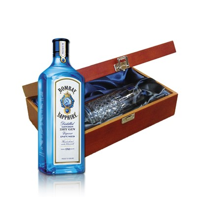 Bombay Sapphire Gin In Luxury Box With Royal Scot Glass   Send a bottle of Bombay Sapphire Gin in a lovely box beautifully stained featuring traditional joins with hinged lid and clasp fastening. Along with a beautiful hand cut lead crystal Royal Scot High Ball glass. All gifts come with a gift card with message of your choice.  . Price includes free UK Mainland Delivery, and Exports and international delivery available.