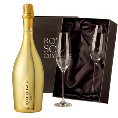 Bottega Gold Prosecco 75cl with 2 Royal Scot Edinburgh Flutes