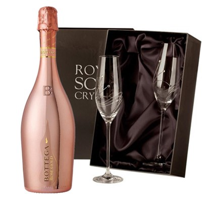 Bottega Rose Gold Sparkling Wine 75cl with 2 Royal Scot Edinburgh Flutes