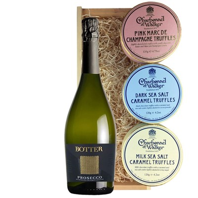 Botter Prosecco 75cl And Charbonnel Trio of Truffles Gift Box