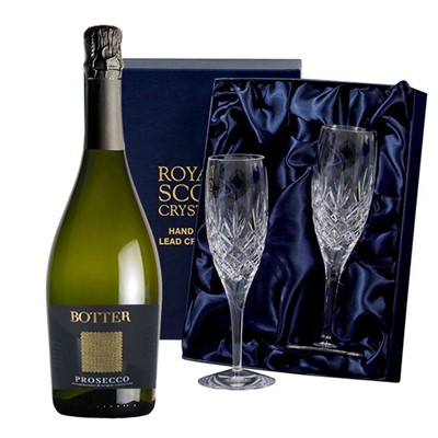 Botter Prosecco 75cl with 2 Royal Scot Edinburgh Flutes