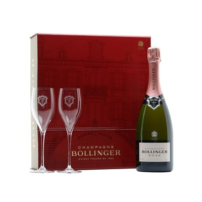Bollinger Rose Champagne And Glasses Champagne Gift set-Bollinger Rose Champagne and Glasses gift set is another stylish champagne gift idea from the House of Bollinger Champagne. The creation of this non-vintage rose has been long in the making and a dream of the House for over six years.
