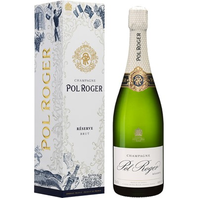 Send a single bottle of Pol Roger Brut Reserve NV Champagne 75cl Presented in a stylish Gift Box with Gift Card for your personal message  A harmonious and consistent blend containing one third each of Pinot Noir Pinot Meunier and Chardonnay grapes never sold until the youngest component is at least three years old. Described as Brut it is versatile wine suitable for most champagne occassions as an aperitif complement to a meal or pure celebration. The definitive house style. Price includes free UK Mainland Delivery, and Exports and international delivery available.