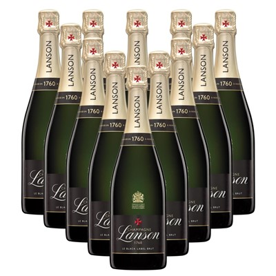 Case of 12 Lanson Le Black Label Brut Champagne 75cl