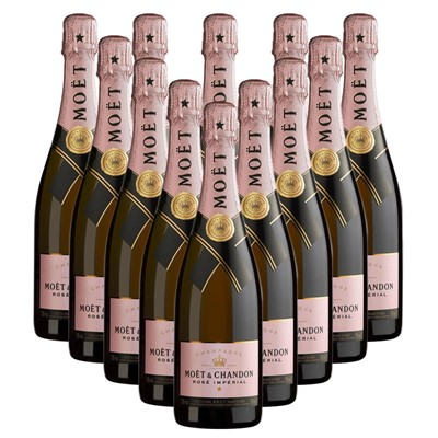 Case of 12 Moet & Chandon Rose Champagne 75cl