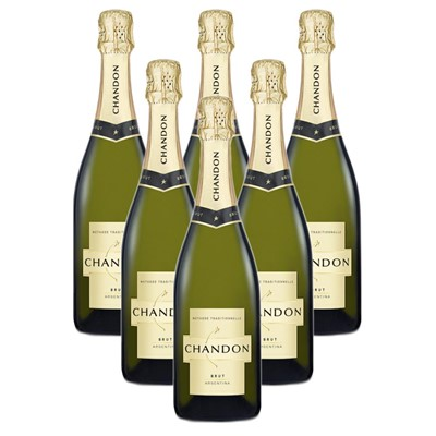 Case of 6 Chandon Brut Sparkling Wine 75cl (6x75cl)