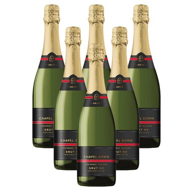 Case of 6 Chapel Down Brut NV English Sparkling Wine 75cl (6x75cl)