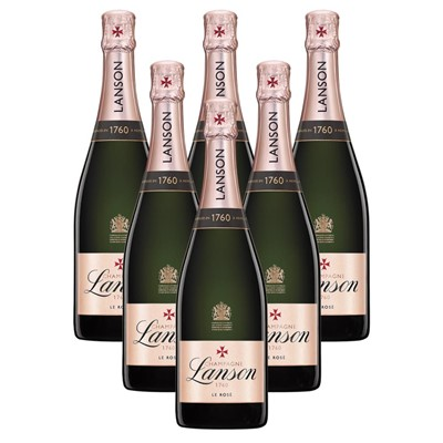 Case of 6 Lanson Rose Label Champagne 75cl (6x75cl)