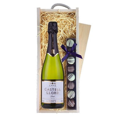 Castell Llord Brut Cava  75cl & Champagne Truffles, Wooden Box
