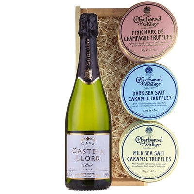 Castell Llord Brut Cava  75cl And Charbonnel Trio of Truffles Gift Box