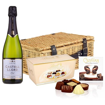 Castell Llord Brut Cava  75cl And Chocolates Hamper