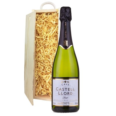Castell Llord Brut Cava  75cl In Pine Gift Box