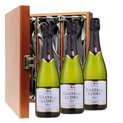 Castell Llord Brut Cava  75cl Three Bottle Luxury Gift Box
