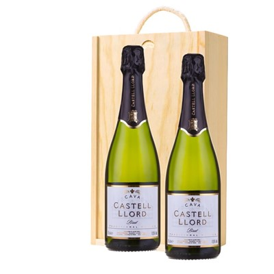 Castell Llord Brut Cava  75cl Twin Pine Wooden Gift Box (2x75cl)