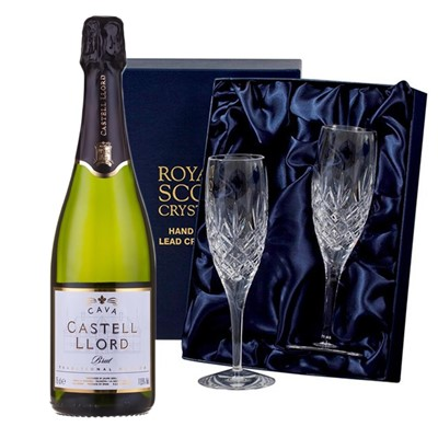 Castell Llord Brut Cava  75cl with 2 Royal Scot Edinburgh Flutes