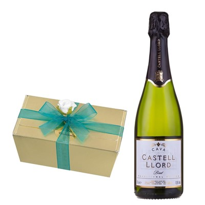 Castell Llord Brut Cava  75cl With Selection Of Milk, White And Dark Belgian Chocolates 460g
