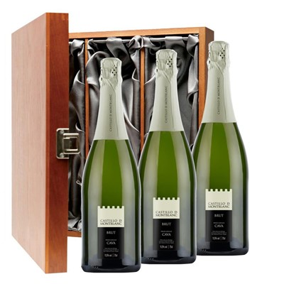 Castillo de Mont-Blanc Cava 75cl Three Bottle Luxury Gift Box