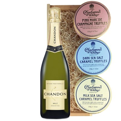 Chandon Brut Sparkling Wine 75cl And Charbonnel Trio of Truffles Gift Box