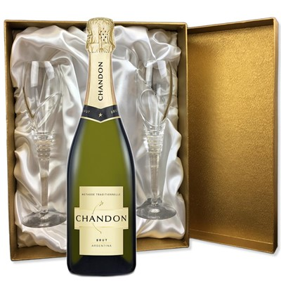 Chandon Brut Sparkling Wine 75cl in Gold Presentation Set With Flutes