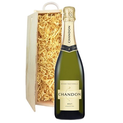 Chandon Brut Sparkling Wine 75cl In Pine Gift Box