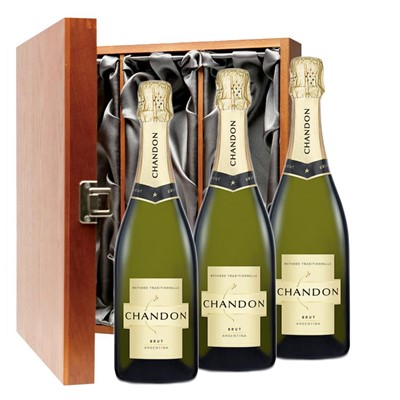 Chandon Brut Sparkling Wine 75cl Three Bottle Luxury Gift Box