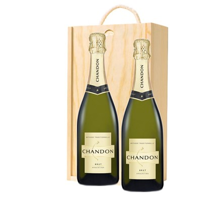 Chandon Brut Sparkling Wine 75cl Twin Pine Wooden Gift Box (2x75cl)