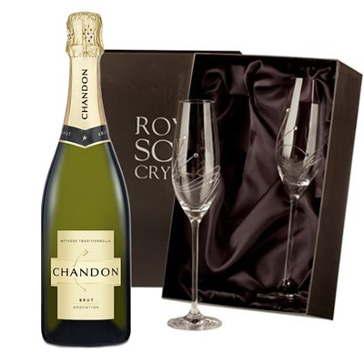 Chandon Brut Sparkling Wine 75cl with 2 Royal Scot Edinburgh Flutes
