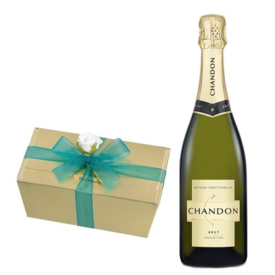 Chandon Brut Sparkling Wine 75cl With Selection Of Milk, White And Dark Belgian Chocolates 460g