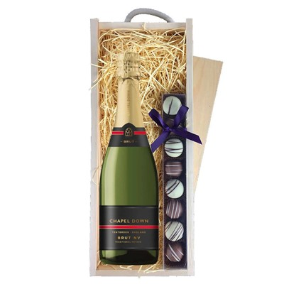 Chapel Down Brut NV English Sparkling Wine 75cl & Champagne Truffles, Wooden Box