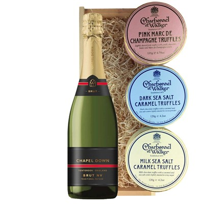 Chapel Down Brut NV English Sparkling Wine 75cl And Charbonnel Trio of Truffles Gift Box