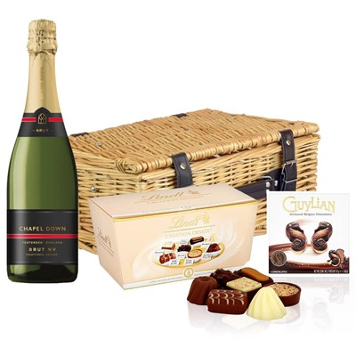 Chapel Down Brut NV English Sparkling Wine 75cl And Chocolates Hamper