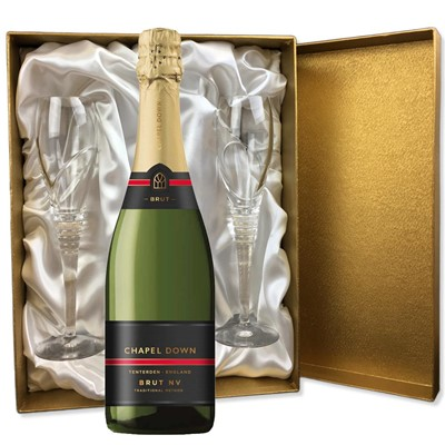 Chapel Down Brut NV English Sparkling Wine 75cl in Gold Presentation Set With Flutes