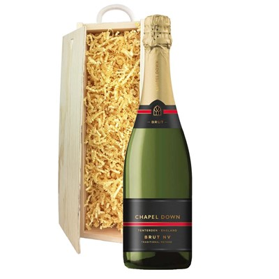 Chapel Down Brut NV English Sparkling Wine 75cl In Pine Gift Box