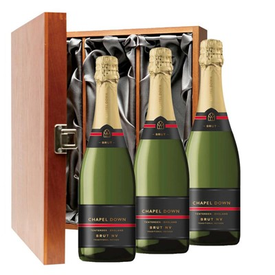 Chapel Down Brut NV English Sparkling Wine 75cl Three Bottle Luxury Gift Box