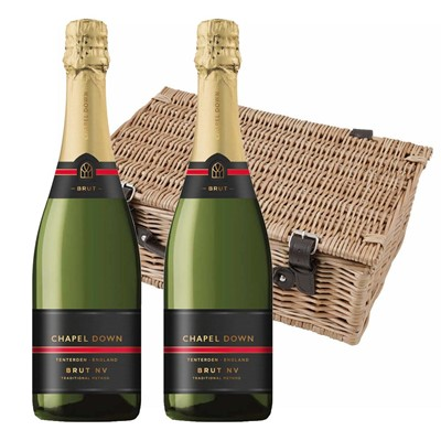 Chapel Down Brut NV English Sparkling Wine 75cl Twin Hamper (2x75cl)